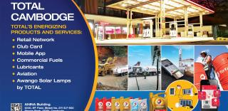 Total Cambodge  Total's energizing products and services:   Retail network Club card Mobile app Commercial fuels Lubricants Aviation Awango Solar lamps by Total